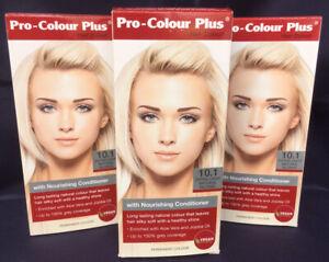 3 x Pro-Colour Plus Permanent Hair Dye Colour No.10.1 Extra Light Natural Blonde