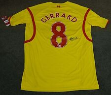 Steven Gerrard Liverpool Signed Yellow Jersey No.8 - 100% Authentic Unframed