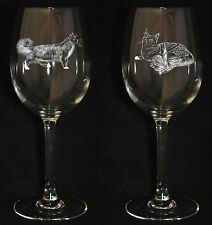 MAINE COON GIFT - Boxed PAIR CRYSTAL WINE GLASS *CAT GIFT* 35cl