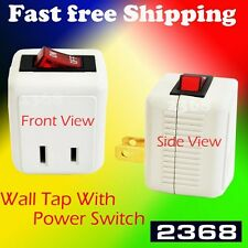 2 Pack  UL Single Port Power Wall Tap Adapter with Red Indicator On/Off Switch
