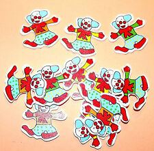 12 Wooden Clowns Card Topper Embellishments