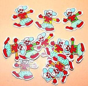 12 Wooden Clowns Card Topper Embellishments