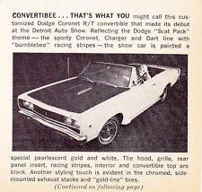 1968 DODGE CORONET SUPER BEE CONVERTIBLE  ~  ORIGINAL SMALLER ARTICLE / AD