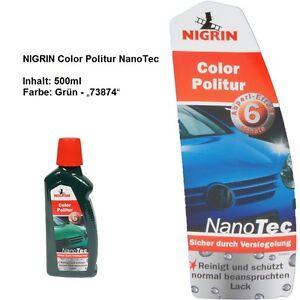 SONDERPOSTEN 20 Flaschen (10 Liter) NIGRIN ColorPolitur Grün NanoTec Autopolitur