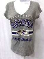 Baltimore Ravens Football Ladies V-Neck Short Sleeve T-Shirt Gray