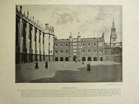 1896 Vittoriano Londra Stampa + Testo ~ CHRIST'S Ospedale