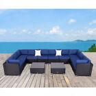 12pc Rattan Wicker Patio Furniture Table Chair Set Outdoor Backyard Garden Black