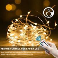USB Micro Draht Lichterkette mit Fernbedienung & Timer - 10M 100 LED warmweiß DE