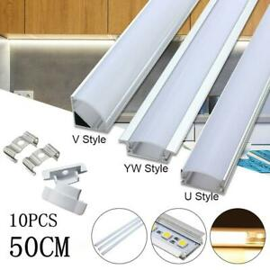 1-20Pcs 50CM Aluminium Channel with Milk Cover PVC Profile For LED Strip Light