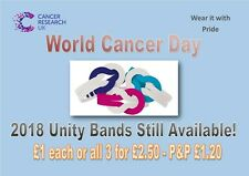 2018 UNITY WRIST BANDS @ £1 each or all 3 for £2.50 Cancer Research UK