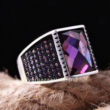Turkish handmade 925 Sterling Silver purple amethyst Stone Men ring ALL SİZE US