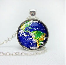 Vintage charm of the earth Cabochon Tibetan silver Glass Chain Pendant Necklace