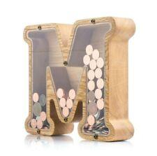 Wood piggy bank adult kids LETTER M Tip coin jar Money box Wooden Montessori toy