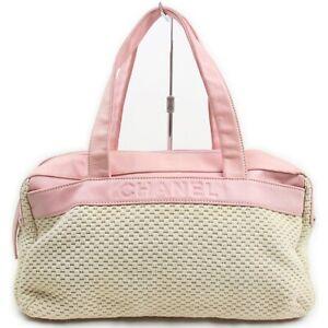 Chanel Hand Bag  Pinks Fabric 708629