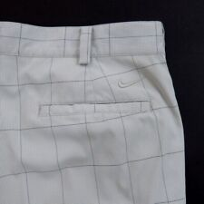 Mens Nike Golf Pants Size 35X30 Flat Front Dri Fit Plaids White