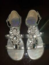 Girl Kenneth Cole Reaction Good Bright Dk Grey JewelEmbellished Sandal Flat Sz 3