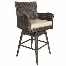 Best Choice Products Wicker Swivel Bar Stool with Cushion - Brown