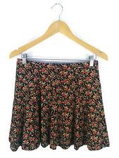 FOREVER 21 Skirt- Mini Boho Retro Liberty Print Floral Skater Stretch Red - 12/M