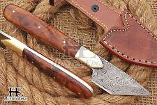 HUNTEX Custom Handmade Damascus Steel 19cm Long Walnut Wood Leather Cutter Knife