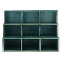 9 Cube Desktop Wooden Storage Shelf Bookcase Bookshelf Cubby Organizer Blue