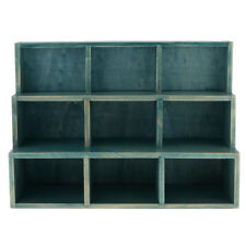 9 Cube Desktop Wooden Storage Shelf Bookcase Bookshelf Cubby Organizer Blue
