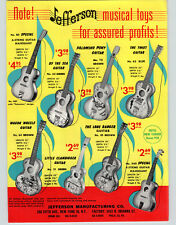 1962 PAPER AD Jefferson Musical Toy Guitar Palomino Pony Piano Ukulele Boat
