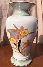 Vintage Porcelain Vase Glazed Floral Design Made In Brazil