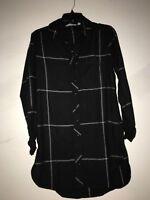 Athleta Plaid Black Cream Stripe Shirt Dress Stylish Women Size XS 100% Cotton