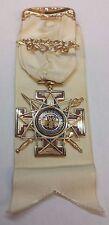 33rd Degree Scottish Rite Masonic Ribbon Medal Jewel 14k Gold Masons - SAF259RZ