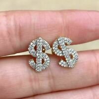 Men's 0.75Ct Round Cut Diamond Dollar Currency Stud Earring 14k Yellow Gold Over