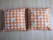 2 handmade square orange gingham animal cushions