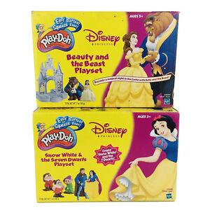 Play-Doh Disney Beauty & The Beast & Snow White 7 Dwarfs Sets 2002 Hasbro Rare
