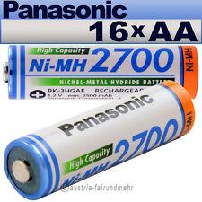 """""""16x Panasonic AKKU Mignon AA 2700mAh HR6  BK-3HGAE"""