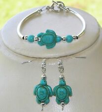 NATIVE AMERICAN TURQUOISE BRACELET EARRING SET TURTLE ISLAND SILVER BEADS