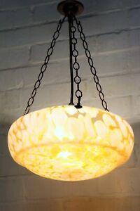 Ceiling Light English Art Deco Fly Catcher Antique Glass Pendant Orange & White