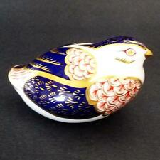 Royal Crown Derby Quail Bird Paperweight Gold Stopper Imari White Porcelain