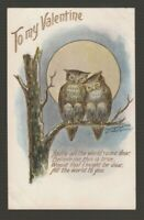 "[72505] 1907 EMBOSSED POSTCARD ""TO MY VALENTINE"" OWL PAIR (Publisher Lounsbury)"