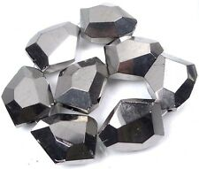 25x20mm Faceted Metallic Silver Glass Nugget Beads (8)