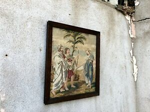 Antique Victorian Biblical Tapestry