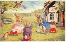 "Rabbits ""Blowing Bubbles"" Racey Helps Fantasy Art Illustration ca 1960s Postcard"