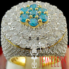 HUGE BIG BOLD 10K YELLOW GOLD OVER SILVER MENS BLUE TOPAZ LAB DIAMOND RING BAND
