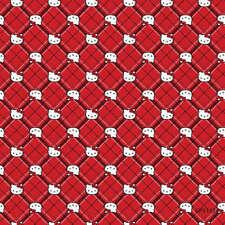"1 yard Hello Kitty ""Diamond Plaid""  Fabric"