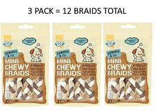 3X NEW GOODBOY MINI CHEWY BRAID BEEF FLAVOURED LOW FAT HIDE DOG CHEW TREAT 05644