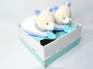Doudou Et Compagnie Paris Baby Bear Rattle Bootie Soft Slippers White Blue 0-6mo