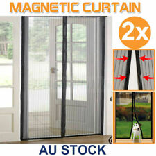 2x Mesh Magnetic Fly Screen Mosquito Bug Door Curtain Hands Free Auto Close AU