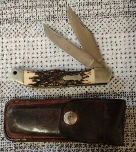 """Nice Vintage Schrade+ USA 227 UH Uncle Henry 2 Blade Folding Hunter Knife 5"""""""