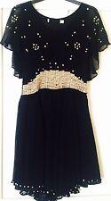 Kate Moss Topshop Black Silver Beaded Cape Dress Size 8