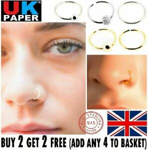 SMALL THIN EYEBROW NOSE EAR 925 STERLING SILVER STUD HOOP RING 8- 10mm WITH BALL