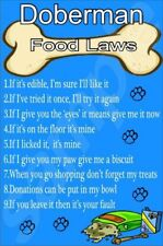 DOBERMAN FOOD LAWS Novelty Laminated Sign - Ideal Gift/Present