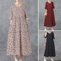 Womens Half Sleeve O Neck Loose Midi Dress Vintage Floral Print Shirt Dress Plus